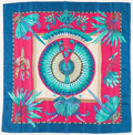"Luxury Accessories:Accessories, Hermes 90cm Pink, Blue & Green ""Brazil,"" by Laurence Bourthoumieux Silk Scarf. Excellent Condition. 36"" Width x 36"" Le..."