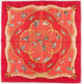 """Luxury Accessories:Accessories, Hermes 90cm Red & Gold """" La Cle des Champs,"""" by FrancoiseFacconet Silk Scarf . Excellent Condition. 36"""" Width x36"""" H..."""