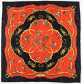 "Luxury Accessories:Accessories, Hermes 90cm Black, Red & Gold "" La Cle des Champs,"" by Francoise Facconet Silk Scarf. Very Good Condition. 36"" Width x..."