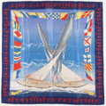 "Luxury Accessories:Accessories, Hermes 90cm Blue, Red & Yellow ""En Course,"" by Yannick ManierSilk Scarf. Very Good Condition. 36"" Width x 36""Length..."