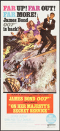 "Movie Posters:James Bond, On Her Majesty's Secret Service (United Artists, 1970). Australian Daybill (13.5"" X 30""). James Bond.. ..."