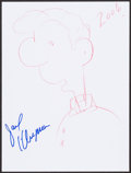 Mainstream Illustration, Jack Klugman. Doodle For Hunger. Crayon and ink on paper. 12x 9 in.. ...