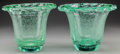Art Glass:Daum, A PAIR OF DAUM ART DECO BUBBLED GREEN GLASS VASES, circa 1930.Marks: DAUM, (with the cross of Lorraine), NANCY,FRANC... (Total: 2 Items)