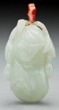 Asian:Chinese, A CHINESE CARVED WHITE JADE DOUBLE GOURD SNUFF BOTTLE. 2-7/8 incheshigh (7.3 cm). PROPERTY FROM THE COLLECTION OF LOLA Mc...