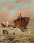 Fine Art - Painting, European, J. CLAITON (French, 19th Century). Boat off of Düsseldorf. Oil on canvas. 27 x 21 inches (68.6 x 53.3 cm). Signed and in...
