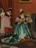 Fine Art - Painting, European:Antique  (Pre 1900), ENRICO TARENGHI (Italian, 1856-1956). First Harmonies. Oilon panel. 12-1/4 x 9-1/4 inches (31.1 x 23.5 cm). Signed and ...