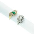 Estate Jewelry:Rings, Diamond, Synthetic Emerald, Gold Rings. ...