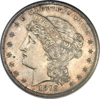 1879 $1 Metric Dollar, Judd-1617, Pollock-1813, R.4 -- Obverse Spot Removed -- NCS. Proof....(PCGS# 61995)