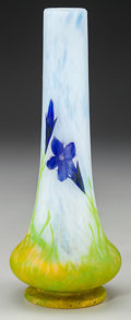 Art Glass:Daum, DAUM OVERLAY GLASS GENTIAN VIOLET VASE, Nancy, France, circa 1910.Marks: DAUM, NANCY, (with the cross of Lorraine). 8-1...