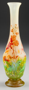 Art Glass:Daum, DAUM OVERLAY AND ENAMELED GLASS LAURIER ROSE VASE, Nancy,France, circa 1910. Marks: DAUM, NANCY, (with the ...
