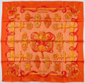 "Luxury Accessories:Accessories, Hermes 90cm Orange & Red ""Ferronnerie,"" by Caty Latham SilkScarf . Excellent Condition . 36"" Width x 36"" Length. ..."