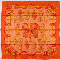 "Hermes 90cm Orange & Red ""Ferronnerie,"" by Caty Latham Silk Scarf Excellent Condition 36"" Width"