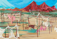 JOHN (HANNS) SKOLLE (German/American, 1903-1988) Abandoned Seri Indian Camp, Sonora, Mexico Acrylic
