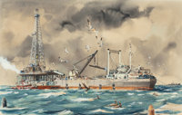 "EDWARD MUEGGE ""BUCK"" SCHIWETZ (American, 1898-1984) Offshore Drilling, 1948 Watercolor and gouache o"