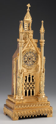 A LOUIS PHILIPPE GILT METAL AND GLASS CATHEDRAL-FORM MANTLE CLOCK Maker unknown, circa 1820 21-3/8 inches (54.3