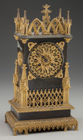 Clocks & Mechanical:Clocks, A LOUIS PHILIPPE GILT AND PATINATED METAL CATHEDRAL-FORM MANTLE CLOCK, circa 1820. 14 inches high (35.6 cm). FROM THE JEAN...