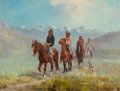 Fine Art - Painting, Russian, JULIUS JACQUES RORPHURO (French/American, 1861-1928). IndianRiders. Oil on canvas. 18 x 24 inches (45.7 x 61.0 cm). Sig...