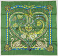 "Luxury Accessories:Accessories, Hermes 90cm Green & Blue ""De Tout Coeur,"" by Zoé Pauwels Silk Scarf. Excellent Condition. 36"" Width x 36"" Height. ..."