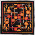 "Luxury Accessories:Accessories, Hermes 90cm Black, Orange & Red ""Brides Et Frontaux,"" by Christiane Vauzelles Silk Scarf. Excellent Condition. 36"" Width x..."