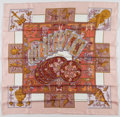 "Luxury Accessories:Accessories, Hermes 90cm Pink, Cream & Gold ""Le Tarot,"" by Annie Faivre SilkScarf. Very Good Condition. 36"" Width x 36"" Length...."