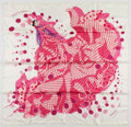"Luxury Accessories:Accessories, Hermes 90cm Pink & Cream ""Hola Flamenca,"" by Dimitri Rybaltchenko Silk Scarf . Excellent Condition. 36"" Width x 36"" He..."