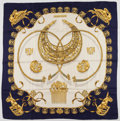 "Luxury Accessories:Accessories, Hermes 90cm Navy, Beige & Gold ""Les Cavliers D' Or,"" byVladimir Rybaltchenko Silk Scarf. Good Condition. 36cm"" Width x3..."