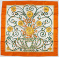 "Luxury Accessories:Accessories, Hermes 90cm Orange, Cream & Green ""Jouvence,"" by Leila MenchariSilk Scarf. Excellent Condition. 36"" Width x 36""Lengt..."