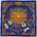 "Luxury Accessories:Accessories, Hermes 90cm Blue, Black & Gold ""Carpe Diem,"" by Joachim MetzSilk Scarf. Excellent Condition. 36"" Width x 36""Length..."