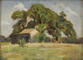Texas:Early Texas Art - Impressionists, ALICE ADKINS MEREDITH (b. 1905). Untitled Landscape with Cabin. Oilon canvasboard. 12 x 16 inches (30.5 x 40.6 cm). Signed ...