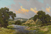 WILLIAM SLAUGHTER (1923-2003) Untitled Bluebonnets and Rocky Hillside, 1974 Oil on canvas 24 x 36