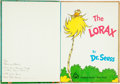 Books:Children's Books, Dr. Seuss. INSCRIBED. The Lorax. New York: Random House,[1971]. Inscribed by the author....