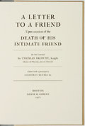 Books:Biography & Memoir, Sir Thomas Browne. LIMITED. A Letter to a Friend Upon Occasionof the Death of His Intimate Friend. Boston: David R....