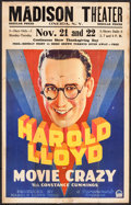 "Movie Posters:Comedy, Movie Crazy (Paramount, 1932). Window Card (14"" X 22""). Comedy....."