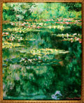 "Books:Prints & Leaves, [The Museum Shop/Brushstrokes Collection]. Large LIMITED Reproduction Painting of ""Water Lily Pond"" by Claude Monet, Framed...."