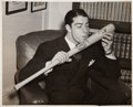 Baseball Collectibles:Photos, 1941 Joe DiMaggio Kissing Bat Original Photograph, PSA/DNA Type1....