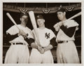 Baseball Collectibles:Photos, 1951 Mickey Mantle, Joe DiMaggio & Ted Williams Original NewsPhotograph, PSA/DNA Type 1. ...