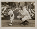 Baseball Collectibles:Photos, 1923 Babe Ruth & Mascot Yankee Stadium Opening Day OriginalNews Photograph by Paul Thompson, PSA/DNA Type 1....