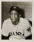 Baseball Collectibles:Photos, 1951 Willie Mays Original News Photograph Used for 1952 Berk RossCard, PSA/DNA Type 1. ...