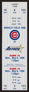 Baseball Collectibles:Tickets, 1998 Kerry Wood 20 Strikeout Performance Full Ticket. ...