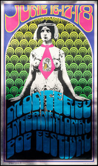 """Monterey Pop by Tom Wilkes (Tom Wilkes, R-1992). Autographed Foil Reprint Poster (11.25"""" X 19.5""""). Rock and Ro..."""