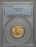 Modern Issues, 1992-W G$5 Olympic Gold Five Dollar MS70 PCGS. PCGS Population (356). NGC Census: (0). Numismedia Wsl. Price for problem f...