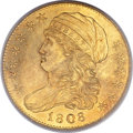 Early Half Eagles, 1808 $5 Wide 5D, BD-4, High R.3, MS63 PCGS....