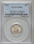 Barber Dimes, 1904 10C MS66 PCGS. Ex: Lily Nicole Collection. PCGS Population(8/0). NGC Census: (6/0). Mintage: 14,601,027. Numismedia W...