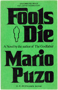 Books:Mystery & Detective Fiction, Mario Puzo. UNCORRECTED PROOF. Fools Die. New York: G. P.Putnam's Sons, [1978]. ...