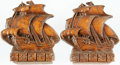 Books:Furniture & Accessories, [Bookends]. Pair of Molded Faux Wood-Grain Bookends DepictingSailing Ships. By Orna Wood, made in U.S.A. Undated. ... (Total: 2Items)