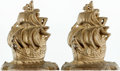 Books:Furniture & Accessories, [Bookends]. Pair of Small Metal Bookends Depicting Sailing Ships.Unmarked, undated.... (Total: 2 Items)