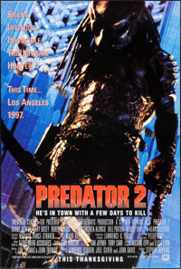 "Predator 2 (20th Century Fox, 1990). One Sheets (2) (27"" X 40"") DS Thanksgiving and Christmas Advance Styles..."