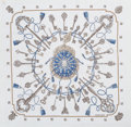 "Luxury Accessories:Accessories, Hermes 140cm White & Blue ""Les Clefs,"" by Caty Latham CottonScarf. Excellent Condition. 55"" Width x 55"" Length...."