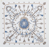 "Hermes 140cm White & Blue ""Les Clefs,"" by Caty Latham Cotton Scarf Excellent Condition 55"" Width"