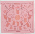 """Luxury Accessories:Accessories, Hermes 140cm Red & Pink """"Carnets de Bal,"""" by Cathy Latham SilkMousseline Scarf. Excellent Condition. 55"""" Width x 55""""..."""
